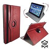 Echt Ledertasche Case für Samsung Galaxy Tab A6 Tablet Schutz Hülle Etui + Touch Pen - 10.1 Zoll Leder Rot 360°