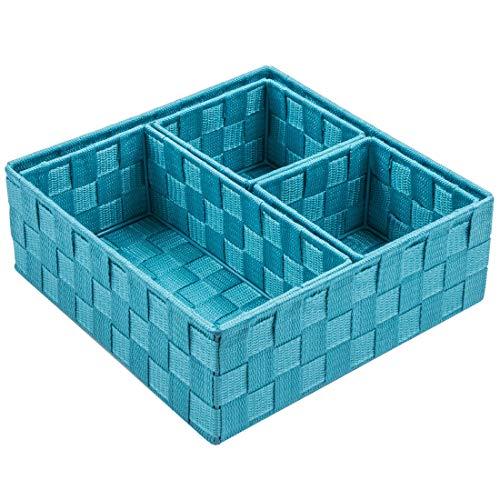 Posprica Gewebte Aufbewahrungsbox Würfel Korb Container Tote Organizer Trennwand für Schublade, Schrank, Regal, Kommode, 4 Stück Navy -