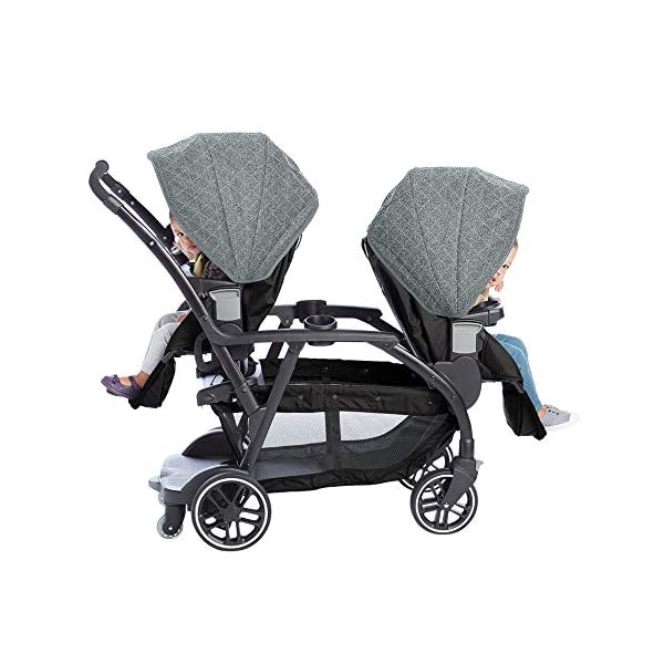 Graco Modes Duo Tandem Pushchair, Shift Graco 27 riding options for 2 children from infant to toddler; click connect attaches with all graco snug ride/essentials infant car seats. suitable from birth to 13kg (approx. 3 years) Two removable, multi-position reclining seats can be positioned rear or forward facing; the built-in bench seat gives your big kid a place to rest; both front and rear seats hold up to 15kgs One-hand standing fold, folds with seats on or off; locking front swivel wheels for superior manoeuvrability; one-step brakes make stopping, and going again, quick and easy 4