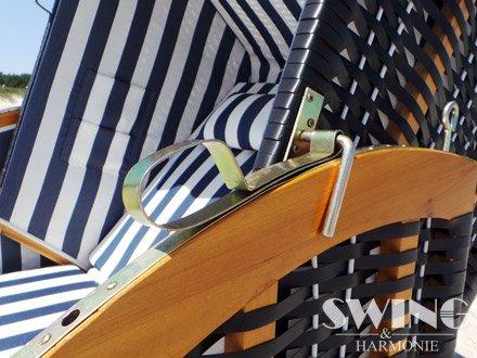 Strandkorb XXL – Luxusstrandkorb – aus Holz und Polyrattan (Blau) - 3