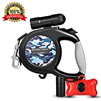 WOT I Retractable Dog Leash Dog Walking Leash for Medium Large Dogs up to 110lbs LED Light &Dog Waste Dispenser Bags included Tangle Free One Button Break & Lock