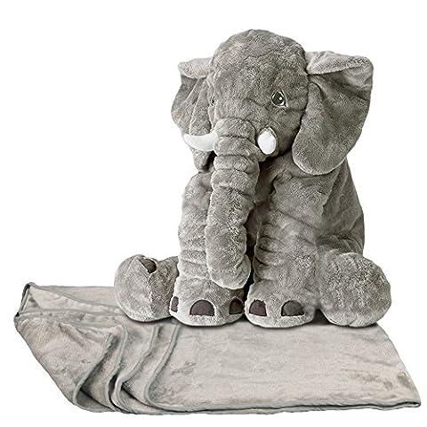 Bebe Elephant - YunNasi Peluche Eléphant 60cm avec Tapis 100*170cm