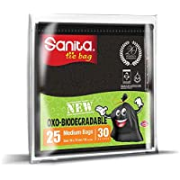 Sanita Tie Bags, 30 Gallons, 25 Bags, Oxo-Biodegradable, Black