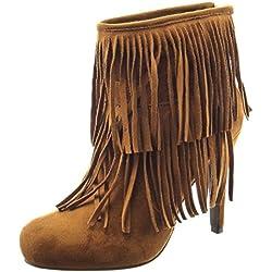Sopily - Zapatillas de Moda Botines A medio muslo mujer fleco Talón Tacón de aguja alto 11 CM - Camel CAT-5-LL646 T 37