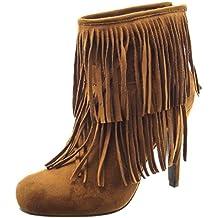 Sopily - Zapatillas de Moda Botines A medio muslo mujer fleco Talón Tacón de aguja alto 11 CM - Camel