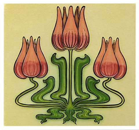 Art Nouveau English Tile Collection ~ Gold Foiled Embossed Blank Greeting Card