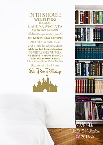 In this House We Do Disney Castle Wall Sticker Wall Art Decal (90 x 54cm, Gold)