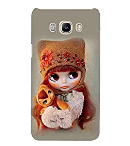 For Samsung Galaxy J7 (6) 2016 Edition :: Samsung Galaxy J7 (2016) Duos :: Samsung Galaxy J7 2016 J710F J710FN J710M J710H cute girl, nice girl, beautiful girl, grey background Designer Printed High Quality Smooth Matte Protective Mobile Pouch Back Case Cover by BUZZWORLD