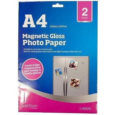 Guilty Gadgets–2x Hojas Magnético A4Inyección De Tinta Brillo Papel Fotográfico satinado imanes de nevera color blanco imán de impresión