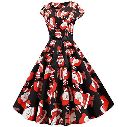 OGGID-Vestiti Donna Elegante Donne Senza Maniche Stampa Paillettes Canotta Costume Swing Abito Hepburn Abiti Danna da Sera Vestito da Cocktail Partito