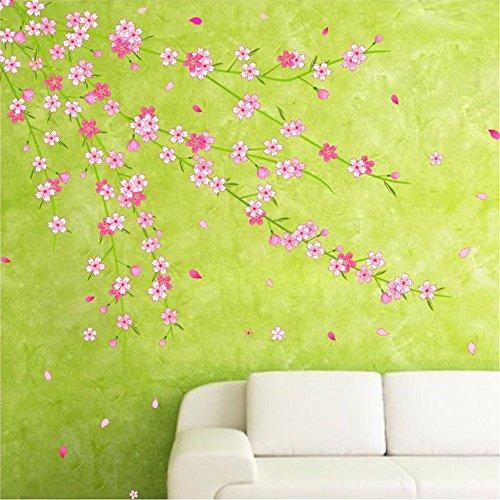 Kirsch-spiegel (Wandsticker Sticker Pfirsich-Kirsch-Decals Wanddekorationen Schlafzimmer Wohnzimmer Warmer Und Rustikaler Stil 60 X 90 Cm)
