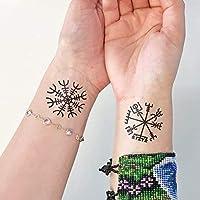 Viking - Aegishjalmur - Vegvisir - Tatouage temporaire (Lot de 2 tatouages)