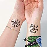 Vikingo - Aegishjalmur - Vegvisir - Tatuaje temporal (conjunto de 2)