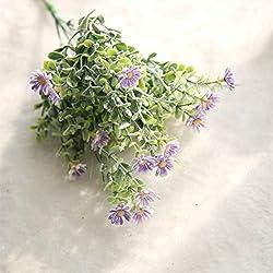 Yiwa Künstliche Blume, Kleine Gänseblümchen, beflockt, Kunststoff, ländlicher Stil, Hochzeitsdekoration violett