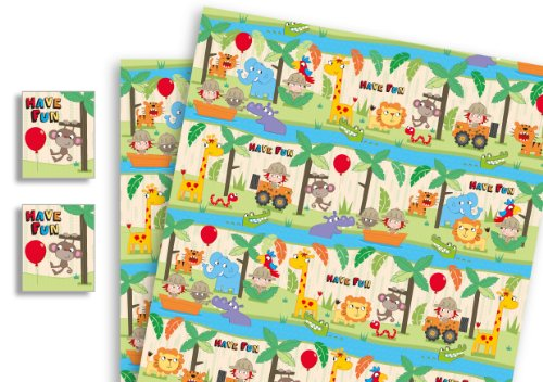 Image of Childrens Luxury Gift Wrap x 2 Sheets & 2 Tags Safari