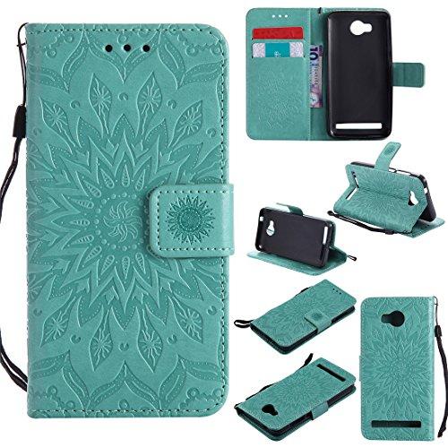 Nancen Compatible with Handyhülle Huawei Y3 II Hülle,Huawei Y3 II / Y3 2 (4,5 Zoll) Leder Wallet Tasche Brieftasche Schutzhülle, Prägung Sonnenblume Muster