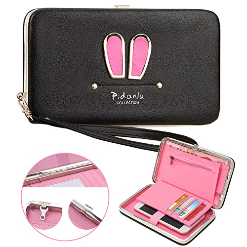 Vandot Damen Hasen Ohren Kapazitat Portemonnaie Elegante Kupplungs Geldbeutel Geldbörse Mehrfachkarten Schlitze Modisch Hasen Ohren Stil PU Leder Tasche Hand Seil Brieftasche mit Kartenfächer Tragbar Armband Geldbörse Handtasche Geldbeutel für HTC U11 / Desire 626G / One A9s / One M8 M7 M9 / Dual /Desire 10 Lifestyle / Desire 526G / Desire Eye / 10 / U Play / One Mini 2 / U Ultra / One A9 / Desire 10 Lifestyle / U Ultra / Desire 500 Desire 530 / Desire 628 dual SIM / Desire 820 - Schwarz (Htc One M8 Armband Geldbörse)