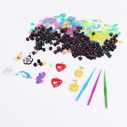 YXP 200 Set Buchstabenperlen Buchstaben Perlen Beads Anhänger BUSTABEN BÄLLE Alphabet Beads für Loom Band Bandz Armbänder Gummibänder Bänder Starter Set Basteln DIY Zubehör Set BH001 (Loom-band-alphabet Perlen)