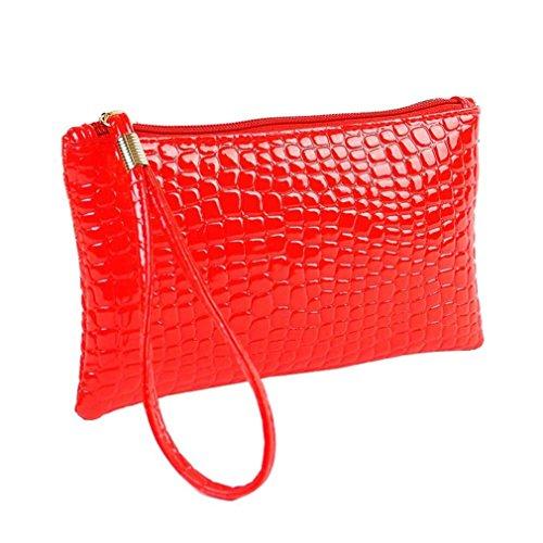 Internet Femmes Crocodile cuir embrayage sac à main sac porte-monnaie 19cm×11cm×1.5cm (Rouge)