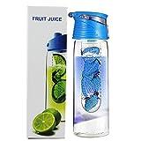 iTemer Wasserflasche mit Filter-Einsatz 800 ml Zitronensaft Fruit Früchteeinsatz und Flip-Top-Deckel Sportflasche Trinkflasche für selbstgemachte Frucht-Getränke Blau 1 Stück