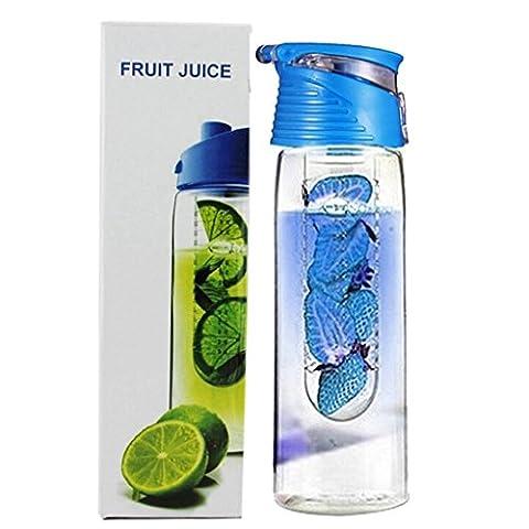 JUNGEN 800ML Fruit Infusant Bouteille D'eau Avec infuseur de Fruits et Flip Lid Jus de Citron Faire Sans Bouteille