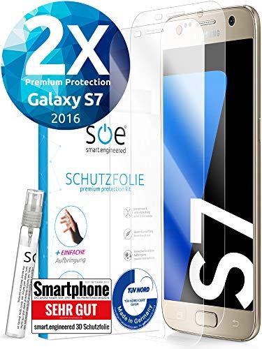[2 Stück] 3D Schutzfolien kompatibel mit Samsung Galaxy S7 - [Made in Germany - TÜV] - HD Displayschutz-Folie - Hüllenfreundlich - Transparent - kein Schutz-Glas sondern Panzer-Folie TPU