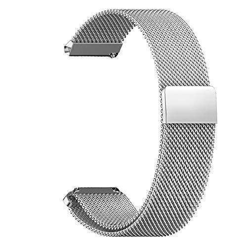 RanGuo Correa de Repuesto para Relojes Inteligentes, Banda con un Ancho de Correa de 16mm/ 18m / 20 mm / 22mm / 24mm, Metal de Acero Inoxidable con Cierre magnético Correa de Reloj (20mm, Plata)