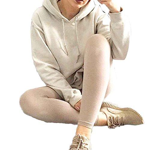 Bekleidung Longra Womens locker lässig Langarm Hoodie Baumwolle Sweatshirt Pullover Pullover Tops Shirt Mantel (S) (Jacke Damen Leder Reißverschluss Belted)
