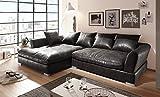 Euro Tische Big Sofa mit Modernem Stlye Stoff in Vintage Schwarz Kunstleder Ecksofa Größe 290x182cm