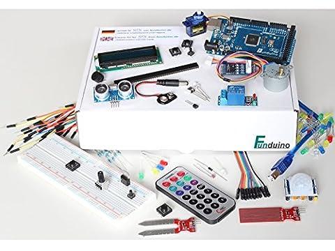 """Lernset für Arduino - """"MEGA 7 + Box"""" mit MEGA2560 R3, Grundausstattung + Relais +IR-FB +Feuchtigkeitssensoren +Schrittmotor + Deutsche Anleitung - Funduino Kit """"M7-B"""""""