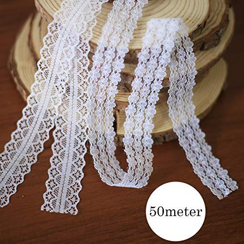 DAHI spitzenband 50M Vintage weiß Spitzenbordüre Zum Nähen für Hochzeit Tischdeko Basteln Geschenkband Kraftpapier (2 Type) - 1 Spitzenband