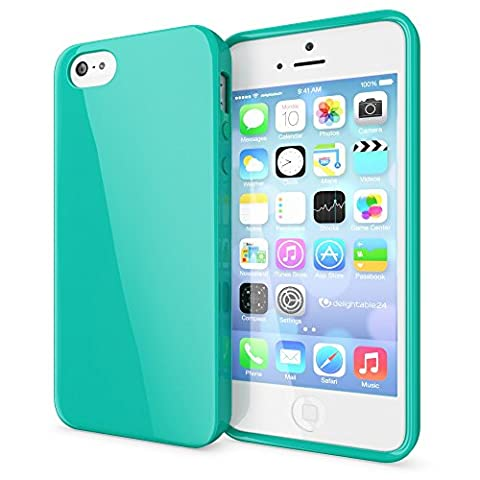 iPhone SE 5 5S Coque Silicone de NICA, Ultra-Fine Housse Protection Cover Slim Premium Etui, Mince Telephone Portable Gel Case Bumper Souple pour Apple iPhone 5 5S SE Smart-Phone - Turquoise