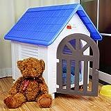 Perrera del gato jerarquía de la jerarquía del animal doméstico de plástico impermeable al aire libre Villa Casa del animal doméstico (2 colores opcionales) (Color : Azul)