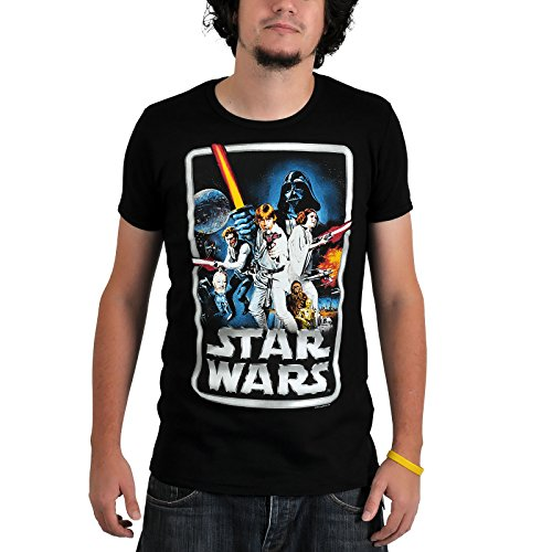 Póster Star Wars Retro Camiseta anillos bosque negro