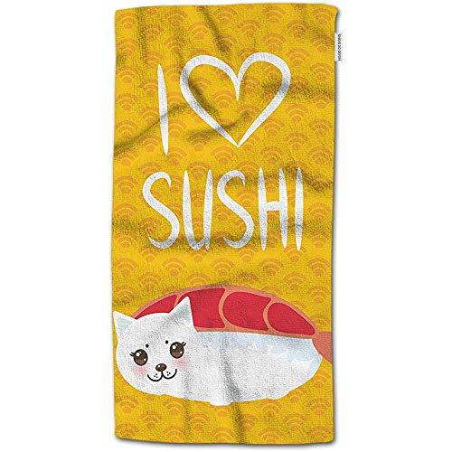 W-wishes Badetuch-Sushi, lustige EBI-Sushi und weißes niedliches Katzen-Zitat-i-Liebes-Sushi-Handtuch-Gesichtstuch