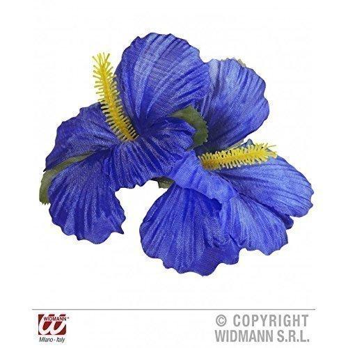 Accesorios-de-disfraz-Hawaii-Chica-Pinza-de-pelo-con-dos-azul-oscuro-Flores-Flores-de-hibiscus