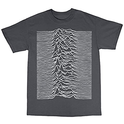 Unknown Pleasures Inspired T-Shirt in 13 Farben, Kohle, X-Large