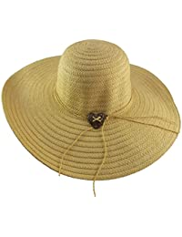 855825174c1 50 s 60 s Ladies Straw Sun Hat  Bardot  Style with Wooden Heart Detail