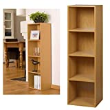 4 Tier Wooden Bookcase Storage Shelving Unit