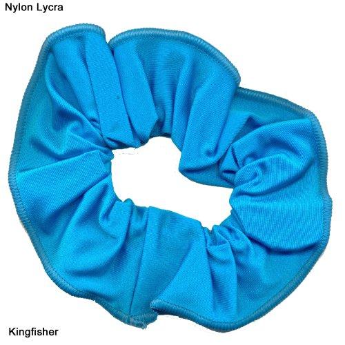 shiny-nylon-lycra-hair-scrunchie-kingfisher