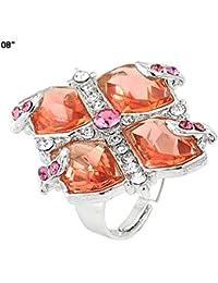 Florishkart Pink Tourmaline Simulated Gem Stone New Style Rings Jewelry