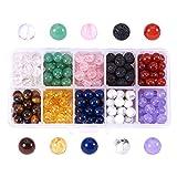 NBEADS 250~300pcs Multicolor 8mm Edelstein Perlen Runde Perlen Charms für DIY Schmuckherstellung
