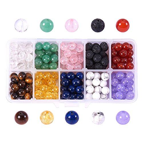 nbeads 250~300pcs Multicolor 8mm Edelstein Perlen Runde Perlen Charms für DIY Schmuckherstellung - Halskette, Charms Geburtsstein Ring,