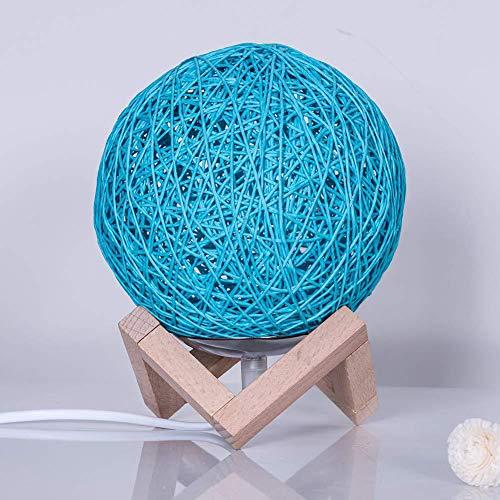 Unbekannt Mond Form Rattan Ball Bett Nachttischlampe, LED weiß/blau Holz Lampenschirm Moderne antike Wohnzimmer Küche Veranda Korridor Leuchte-Blue -