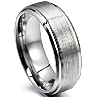 MunkiMix 8mm Tungsten Ring Band Silver Tone In Comfort Fit Wedding Engagement Promise Size V Men
