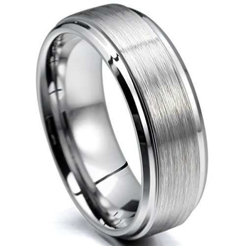 MunkiMix 8mm Tungstène Anneau Bague Ton d'argent en Comfort Fit Mariage Engagement Fiançailles Promesse Taille 64 Homme