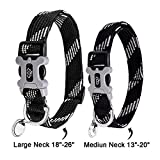 Eorefo Hundehalsband Hunde Halsband Soft Reflektierende Design-Personalisierte Halsbänder für Mittlere Große Hunde.(Schwarz Hals 18
