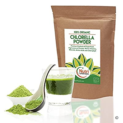 ORGANIC Chlorella Cracked Cell Powder | High in Protein for muscle mass | Regulates hormones | Lowers blood sugar & cholesterol | Cleanses the body of heavy metals & toxins
