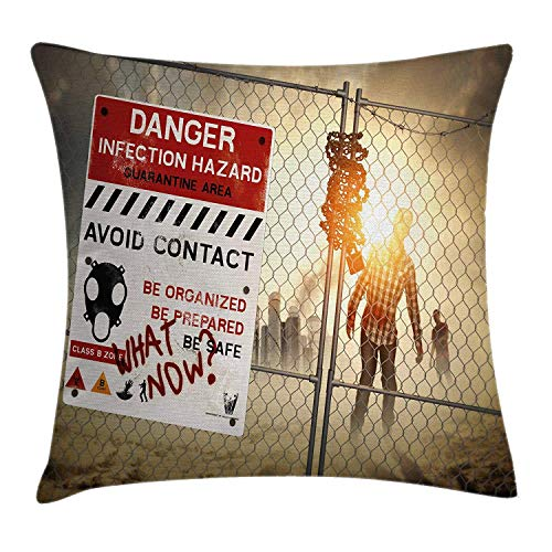 Zombie Throw Pillow Cushion Cover, Dead Man Walking in Dark Danger Scary Scene Fiction Halloween Infection Picture, Decorative Square Accent Pillow Case,Multicolor 20x20inch (Brothers Coda Halloween)
