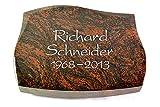 Grabplatte, Grabstein, Grabkissen, Urnengrabstein, Liegegrabstein Modell Galaxie 40 x 30 x 7 cm Aruba-Granit, Poliert inkl. Gravur (Ohne Ornament)